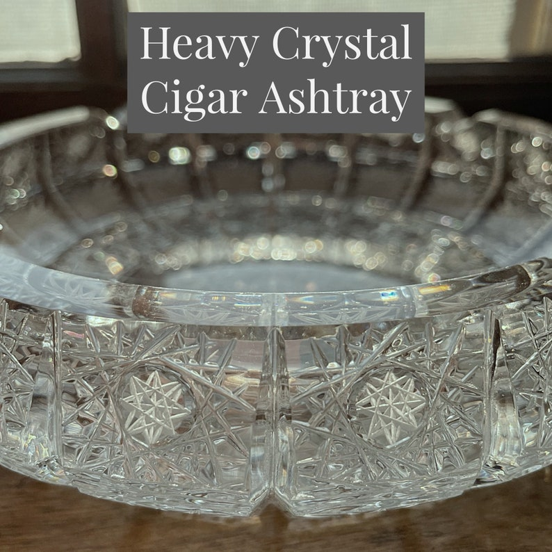 Bohemian Czech Crystal Ashtray  Hand Cut Crystal Designed in image 1