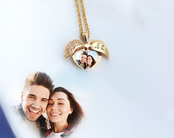 Personalized Necklace, Heart shaped wings photo necklace, Exclusive Permanent Laser Engraved Photo, Custom Photo Necklace, Give Her Gift