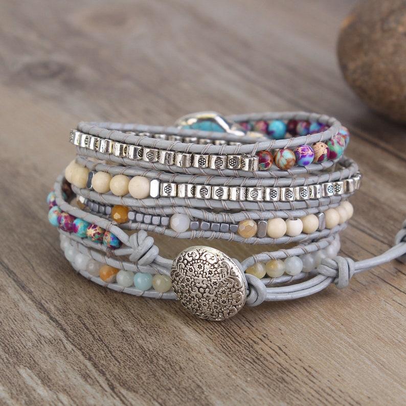 Handmade Natural Wrap Bracelets,Variety Beads Strand Bracelet for Mom Turquoise Bracelets