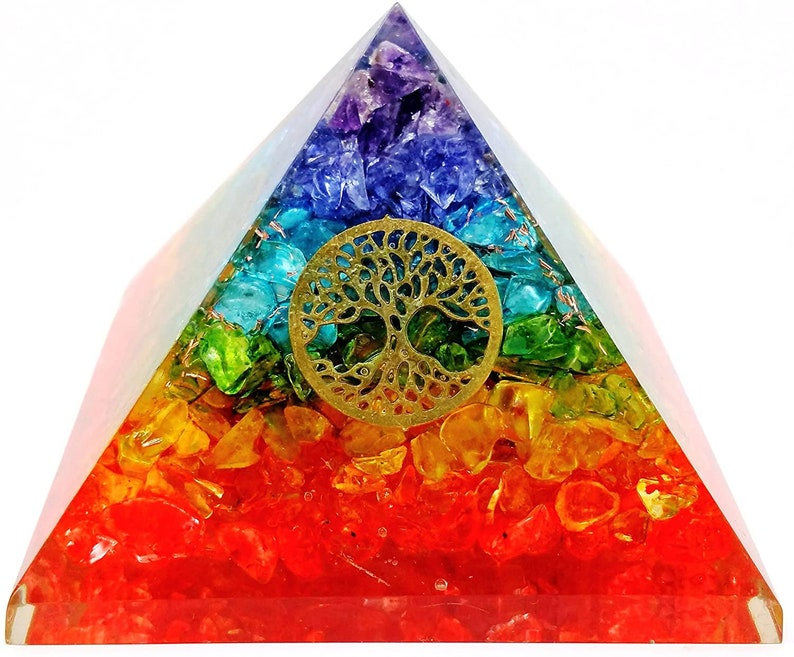 Chakra Stones Pyramid Orgonite Pyramid Used for EMF Protection Meditation Crystal Healing and Chakra and Reiki Work