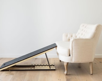 Lightweight Wooden Dog Mobility Ramp made from premium plywood and carpet, with height adjustments between 25-55cm
