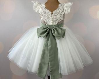 Flower girl dress, Sage dress, Birthday Dress, Baby Dress, Lace Dress, Tulle Dress, Wedding, MODEL IS004