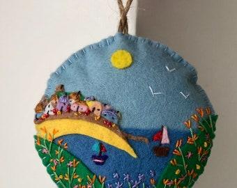 Cornish Scene Hanging Decoration St Ives Bay Cornwall UK Tree Decor Small Gift England Beach Holiday