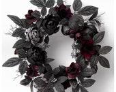 18 quot Halloween Peony Wreath Gothic Decor Wreaths Fall Decor Halloween Decor Holiday Decor Fall Wreaths