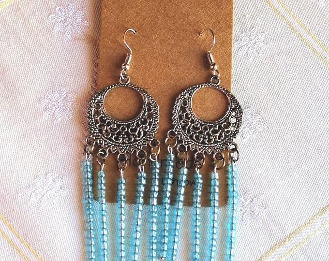 Βοho light blue earrings