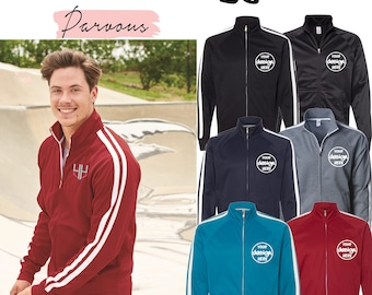 Parvous Boutique Men Custom Logo Text Stitching Embroidery Design Your Own Tech Full Track Jacket - Multicolors (EXP70PTZ)