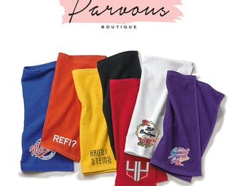Parvous Boutique Custom Logo Text Stitching Embroidery Design Your Own Rally Towels - Multicolors (t18)