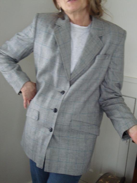 Vintage WilliWear long plaid jacket, c. 1980s, Siz