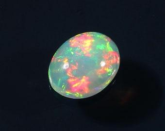 Multi Fire Black Opal Loose Gemstone 2.1 Carat 10x8x5.2 MM Natural Ethiopian Black Opal Rainbow Flash Fire Oval Shape Cabochon