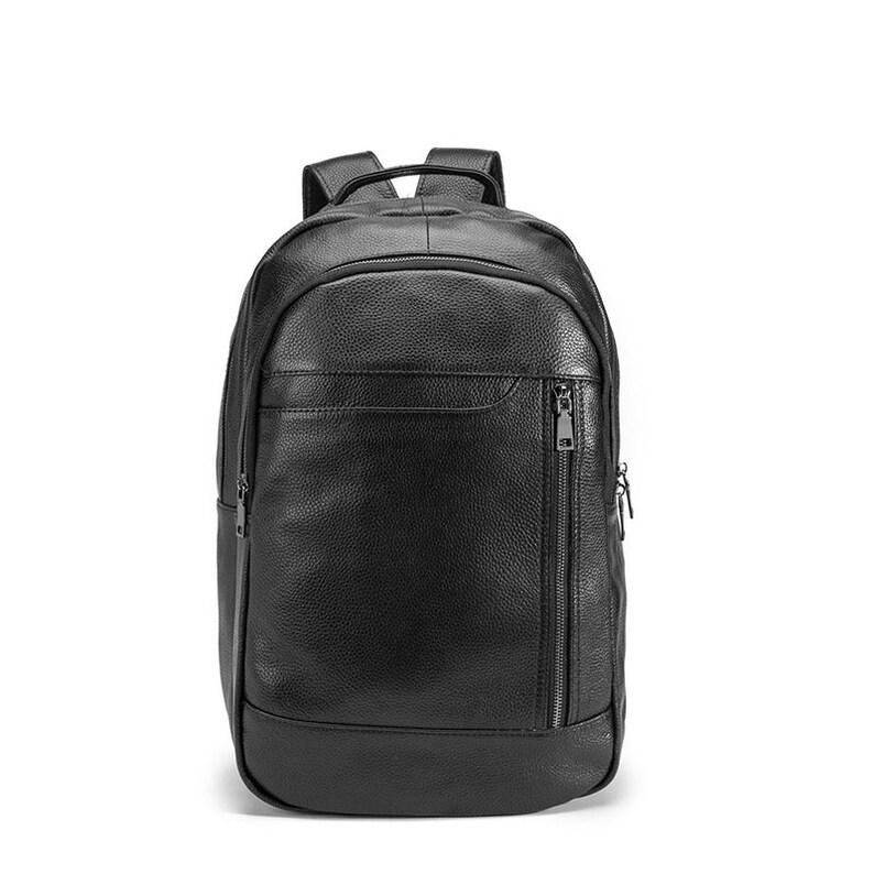 Quality Leather Heavy Duty Design Men Travel Picnic bag Backpack Knapsack Picnic bag Daypack Black Fashion College School 17 Laptop Bag