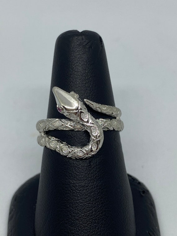 Sterling Silver Snake Ring With Ruby Eyes - image 1