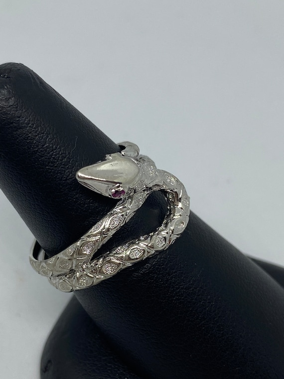 Sterling Silver Snake Ring With Ruby Eyes - image 3