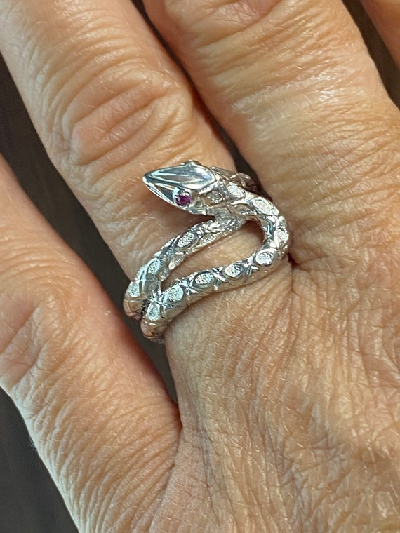 Sterling Silver Snake Ring With Ruby Eyes - image 7