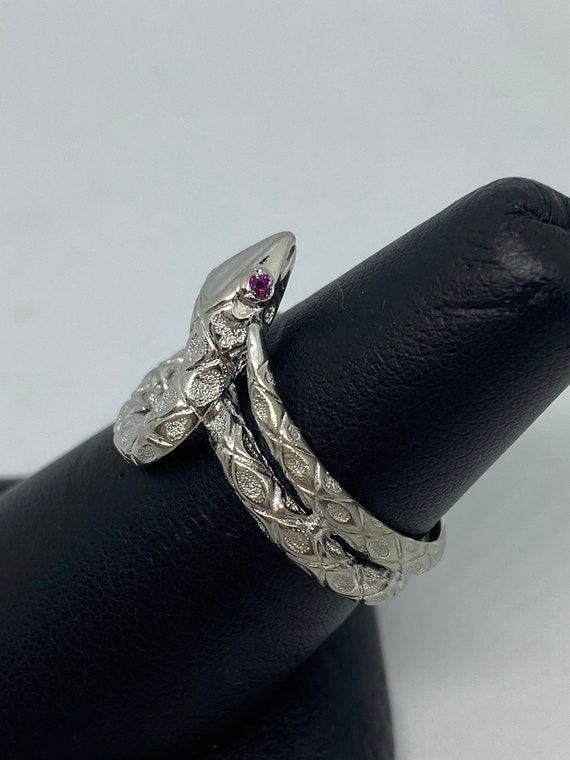 Sterling Silver Snake Ring With Ruby Eyes - image 2