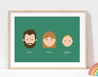 Illustrated Family Portrait |  Family Portrait  |  Family Portrait Print  |  Personalised Family Portrait  |  Caricature Family Portrait