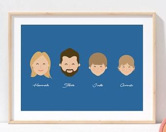 Illustrated Family Portrait |  Family Print  |  Portrait Print  |  Personalise Family Print |  Pet Portrait | Unique Christmas Gift