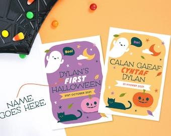 Baby 1st Halloween | Baby's First Halloween | 1st Halloween Photo Prop | Welsh Halloween Card | Personalised Halloween | Baby Milestone