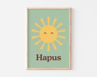 Sun Nursery Print  |  Hapus Nursery Print  |  Happy Nursery Print  |  Welsh Sun Nursery Print  |  Hapus Print  |  Welsh Kids Print