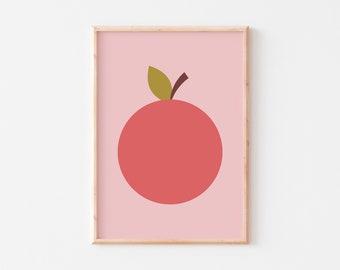 Apple Nursery Print  |  Apple Print  |  Pink Apple Print