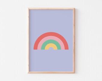 Nursery Rainbow Print  |  Pastel Rainbow Print  |  Pastel Rainbow Poster  |  Kid's Rainbow Print  |  Personalised Kid's Print