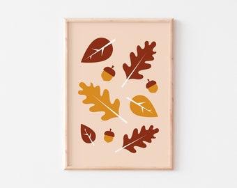 Autumn Leaves Print  |  Autumn Print  |  Woodland Print  |  Nursery Woodland Print