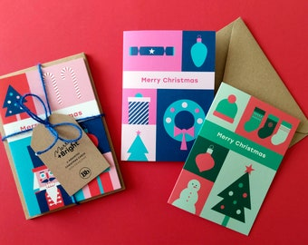 Pack of 6 Colourful Christmas Cards  |  Contemporary Christmas Card Pack |  Bright Christmas Card Pack |  Unique Christmas Card Pack