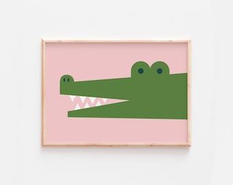 Crocodile Print  |  Nursery Prints  | Kid's Prints  |  Colourful Kid's Print  |  Nursery Jungle Prints  |  Nursery Animal Print