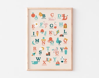 Alphabet Print  |  Alphabet Poster |  Illustrated Nursery Print |  Nursery Alphabet Print  |  Kid's Alphabet Print
