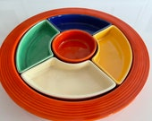 Complete ORIGINAL 1930 39 s Fiesta relish tray dish set. Fiesta red base and all original colored pieces. not pieced together. Rarely used.