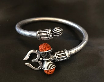 Beautiful silver shiva trishul om rudraksha bangle