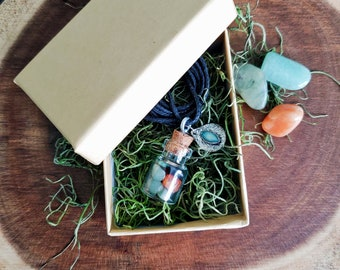 Intention Jar Necklace- Custom Made with Crystals and Herbs