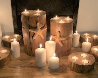 Wooden Log Tea Light Candle Holders Indoor/Outdoor Garden Wedding