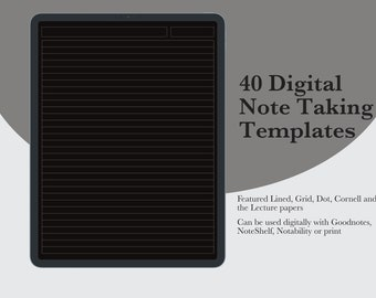 Digital Note Taking Paper Template   Goodnotes, Noteshelf, Notability   Lined Ruled Grid Dotted Cornell