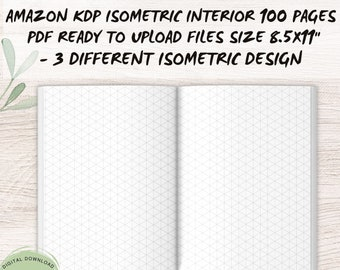 """Isometric paper KDP, Isometric Graph Paper (Bleed Design), 8.5""""x11"""", KDP Interiors, Template, Grid Of Equilateral Triangles - COMMERCIAL use"""