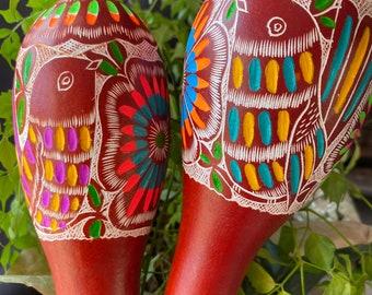 Peruvian Carved Gourd Rattle/Healing/shamanic/sound healing/sound journey/Ceremony/Rattle/peru/Shaker