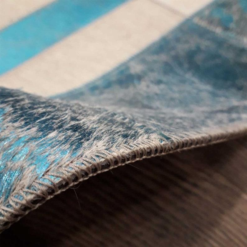 Handmade Luxury Cowhide Skin Fur Natural Color Mixed Small Patchwork Rug Bathroom Mat Decoration Fur Door Mat