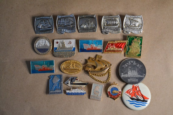 Collection badges of the USSR-Russian military ships.A set of badges ships.Old badges of the USSR military ships.Set of icons with ships
