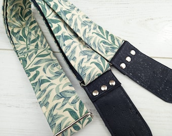 Floral Guitar Strap - Vegan Guitar Strap - Cork Leather Ends - Handcrafted in the UK - Suitable for Acoustic, Electric and Bass Guitar