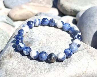 Blue Sodalite Bracelet, 8mm & 10mm Sodalite beaded bracelet