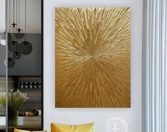Golden Rays Abstract Original Art Textured Painting Gold Leaf Wall Art Abstract Floral Art Glittery Golden Painting Modern Wall Decor