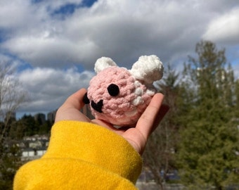 Small Pink Strawberry Crochet Bee