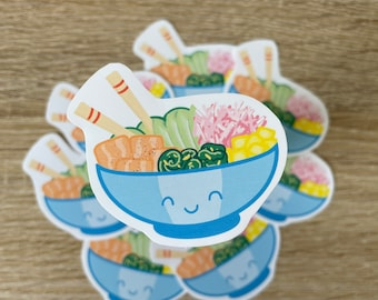 KAWAII POKE bowl | matte vinyl sticker | Little Bowls of Happiness series no. 1