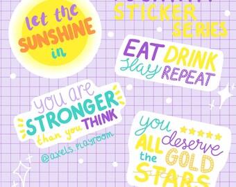 POSITIVITY STICKERS | mental health | matte vinyl stickers | 4 designs