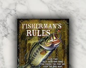 Fisherman 39 s Rules Vintage Metal Tin Sign Wall Art Painting for Decoration