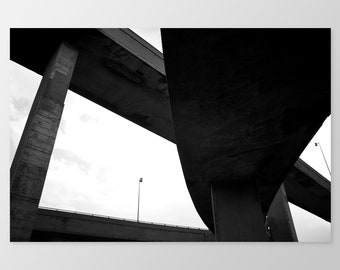 TURCOT #1 – Montreal Photography, Photo Print, Concrete Structures, Highway, Black and White Photo, Condo Decor