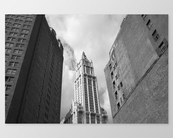 WOOLWORTH BUILDING – New York Architecture, Photo Print, Historic Building, Manhattan Skyscraper, Black & White Photography