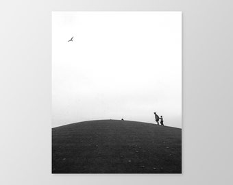 THE HILL – Fine Art Photography, Photo Print, Black & White Photography, Mother, Child, Silhouettes, Bird, Sky, Montreal, Wall Decor