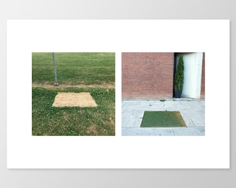 TRANSPLANT – Photo Print, Urban Shapes, Urban Nature, Photo Diptych, Grass, Minimalist Photography, Minimalist Decor, 8x12