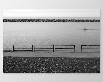 ROWS – Photo Print, Fine Art Photography, Black and White Photography, Lake Ontario, Rowing, Toronto Waterfront, 8x10, 8x12