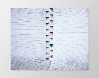 VERTEBRAE – Urban Photography, Photo Print, Brick Wall, White Brick, Office Wall Art